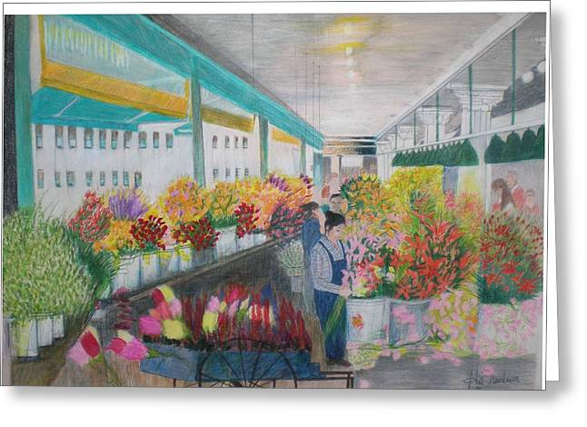 Flower Market Greeting Card by Hal Newhouser