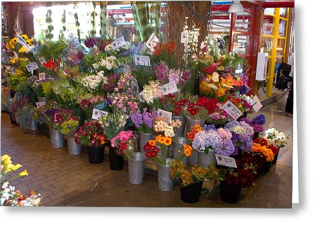 Flower Market Greeting Card by James Johnstone