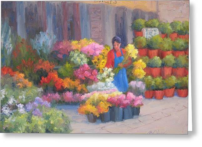 Flower Market On Rue Cler Greeting Card by Bunny Oliver