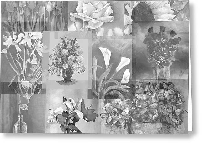 Flower Montage In Shades Of Gray Greeting Card by Arline Wagner