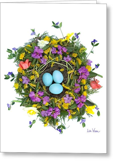 Flower Nest Greeting Card by Lise Winne