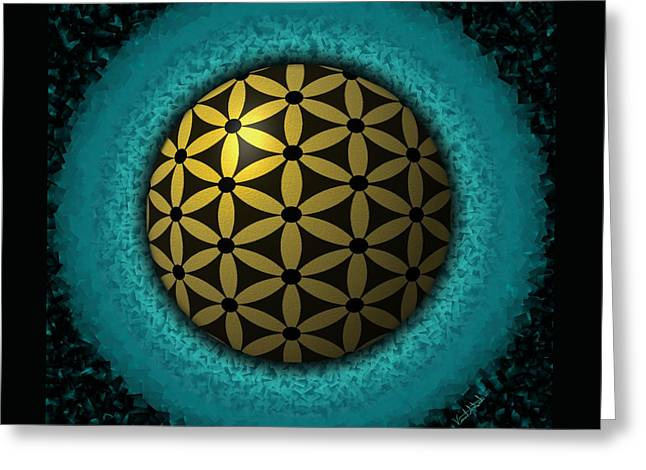 Greeting Card featuring the digital art Flower Of Life by Vincent Autenrieb
