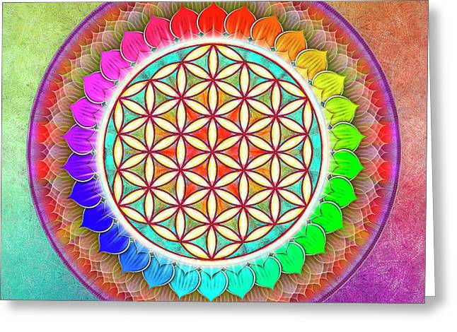 Flower Of Live - Rainbow Lotus 1 Greeting Card