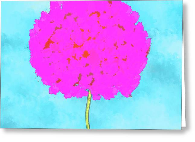 Flower On Blue Greeting Card by Skip Nall