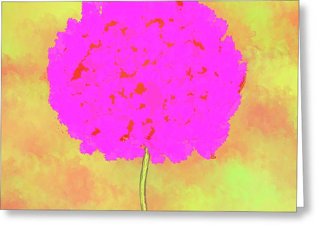 Flower On Yellow Greeting Card by Skip Nall