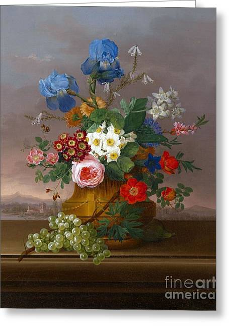 Flower Piece With Grapes Set Against A Landscape Greeting Card