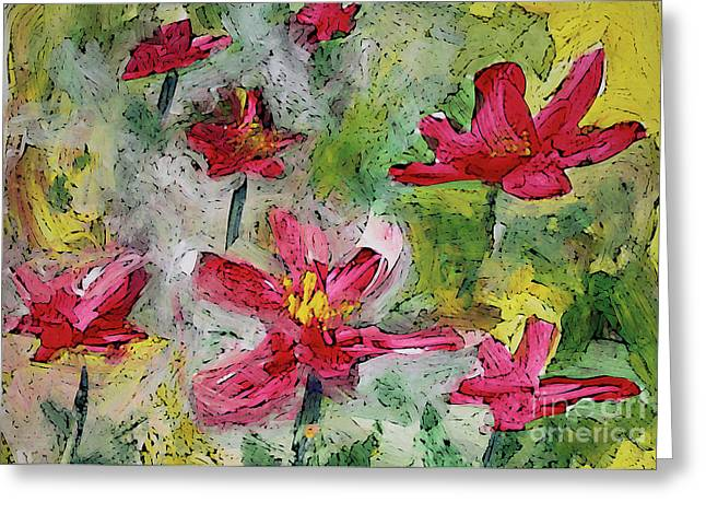 Greeting Card featuring the painting Flower Play by Terri Thompson