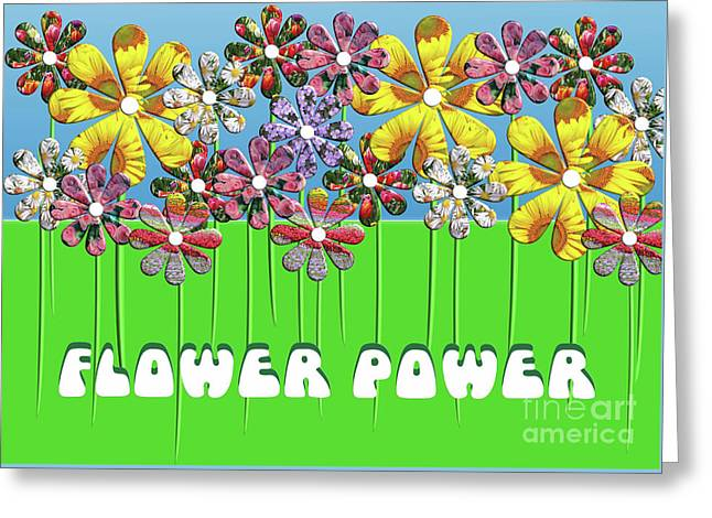 Flower Power Greeting Card by Beverley Brown