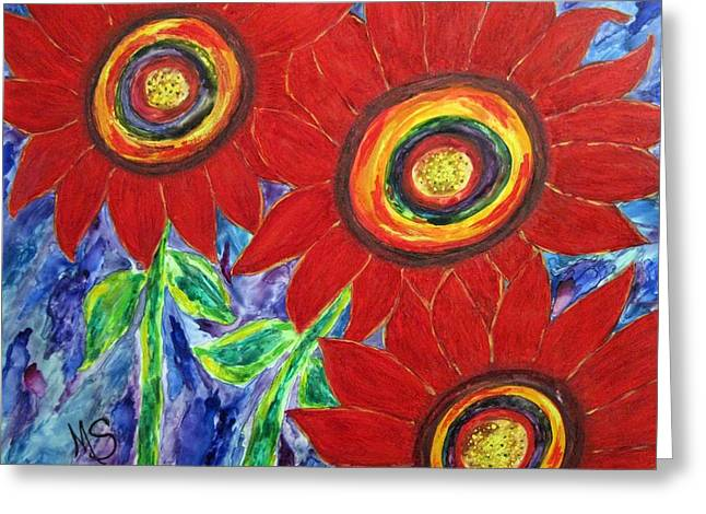 Flower Power Greeting Card by M  Stuart