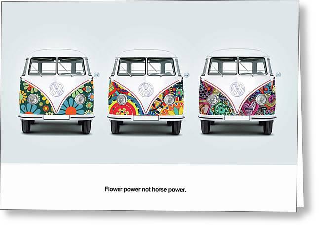 Flower Power Vw Greeting Card