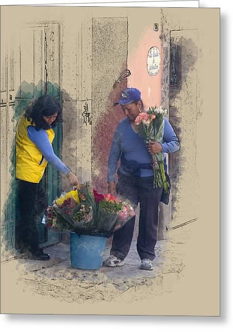 Flower Sale Greeting Card by Richard Baker