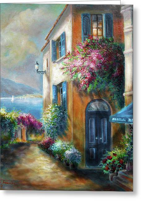 Flower Shop By The Sea Greeting Card