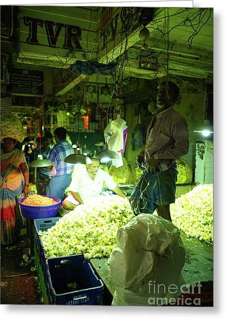 Greeting Card featuring the photograph Flower Stalls Market Chennai India by Mike Reid