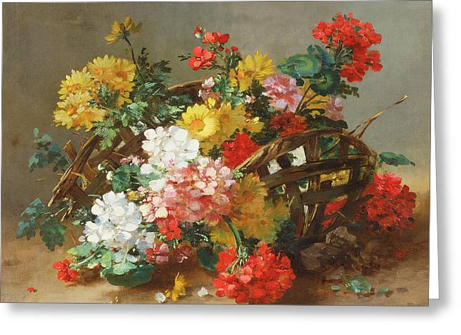 Flower Study Greeting Card by Eugene Henri Cauchois