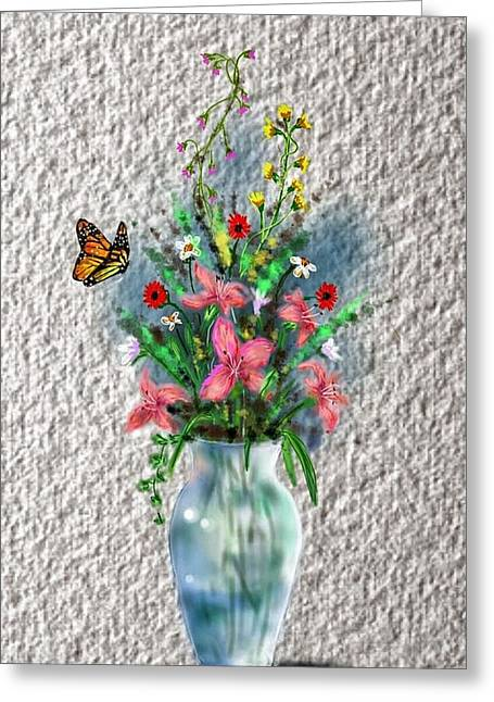 Greeting Card featuring the digital art Flower Study Three by Darren Cannell