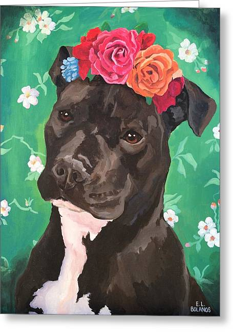 Flower The Pitbull Greeting Card by Elisa Bolanos