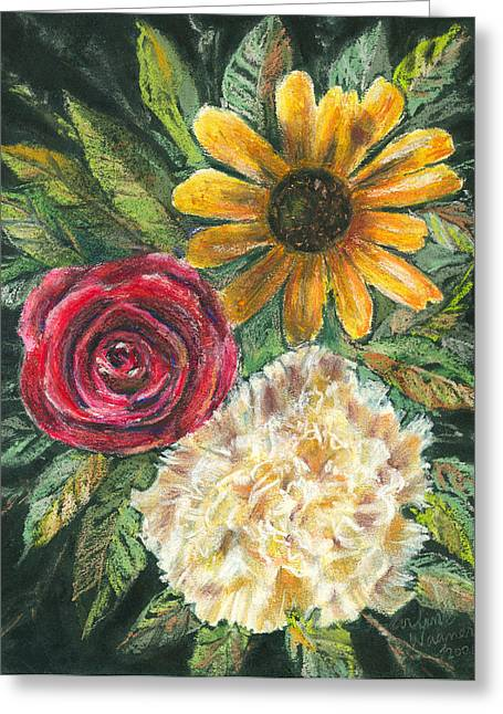 Flower Trio Greeting Card by Arline Wagner