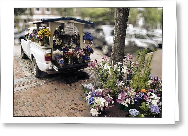 Flower Truck On Nantucket Greeting Card by Tammy Wetzel