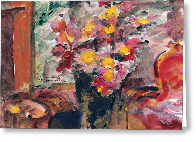 Flower Vase On A Table 1922  Greeting Card by Lovis Corinth