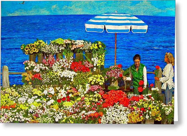 Flower Vendor In Sea Point Greeting Card by Michael Durst