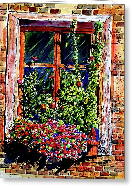 Flower Window Greeting Card by Terry Banderas