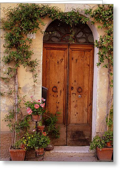 Flowered Tuscan Door Greeting Card