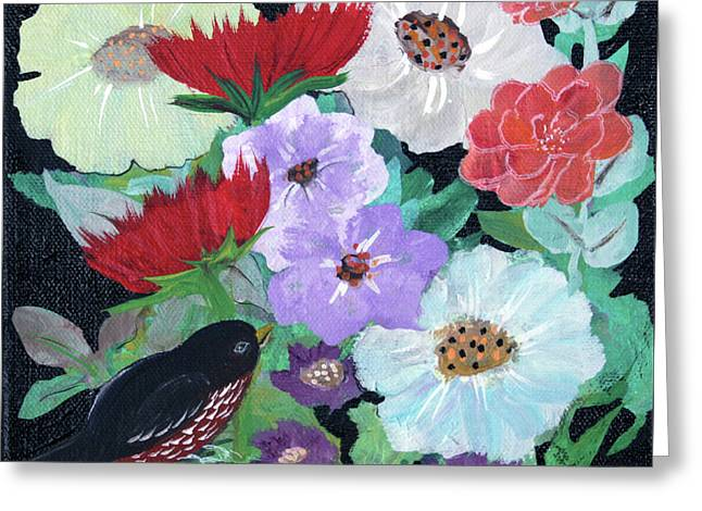 Greeting Card featuring the painting Floweret by Robin Maria Pedrero
