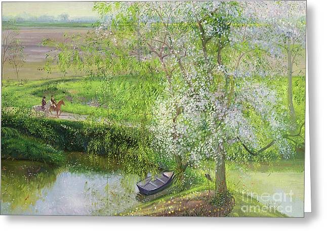 Flowering Apple Tree And Willow Greeting Card by Timothy Easton