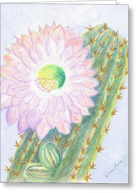 Flowering Cactus Greeting Card by Dawn Marie Black