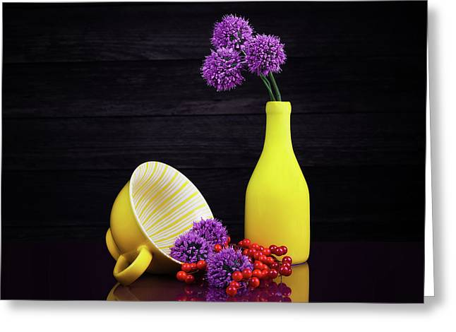 Flowering Onion With Yellow Greeting Card