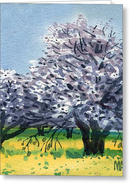 Flowering Walnut And Mustard Greeting Card by Donald Maier