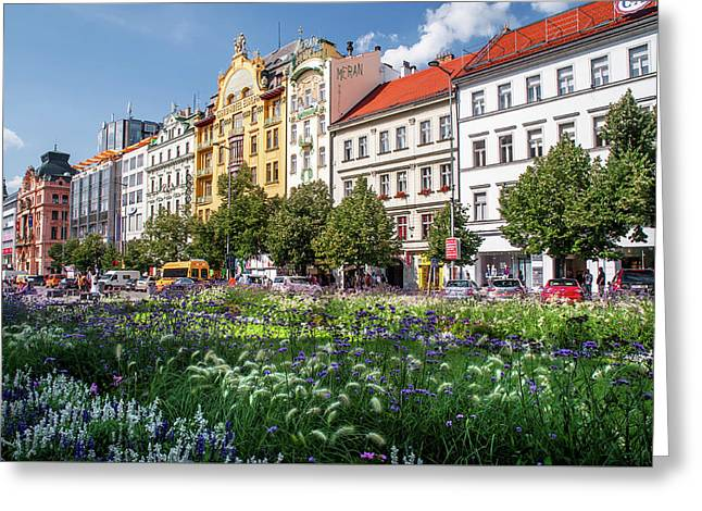 Greeting Card featuring the photograph Flowering Wenceslas Square In Prague by Jenny Rainbow