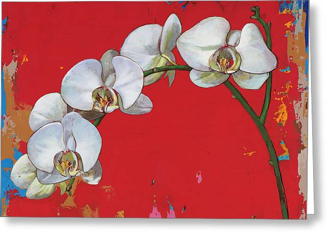 Greeting Card featuring the painting Flowers #14 by David Palmer