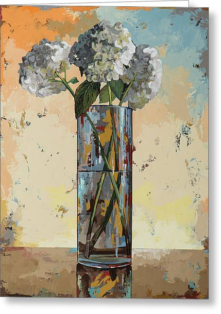 Greeting Card featuring the painting Flowers #16 by David Palmer