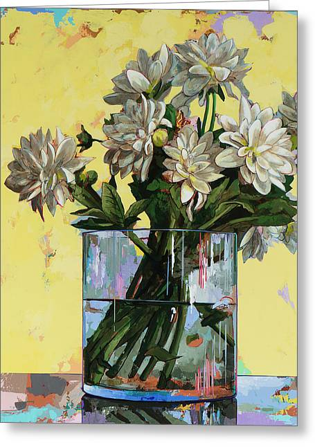Greeting Card featuring the painting Flowers #19 by David Palmer