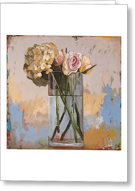 Greeting Card featuring the painting Flowers #2 by David Palmer