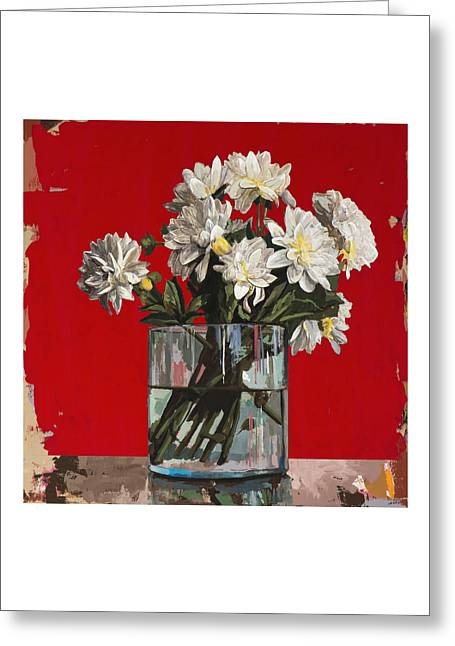 Greeting Card featuring the painting Flowers #4 by David Palmer