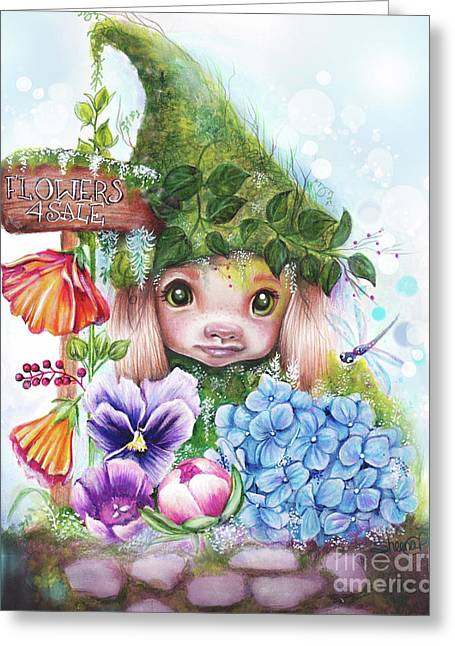 Greeting Card featuring the mixed media Flowers 4 Sale - Garden Whimzies Collection by Sheena Pike