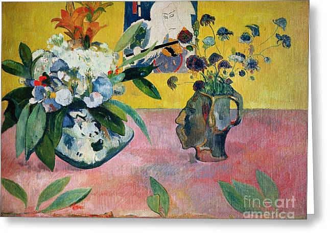 Flowers And A Japanese Print Greeting Card by Paul Gauguin