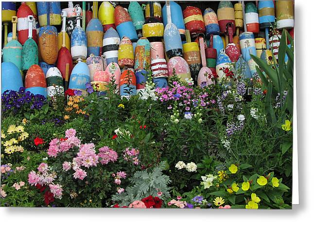 Flowers And Bouys Greeting Card by Mike Martin