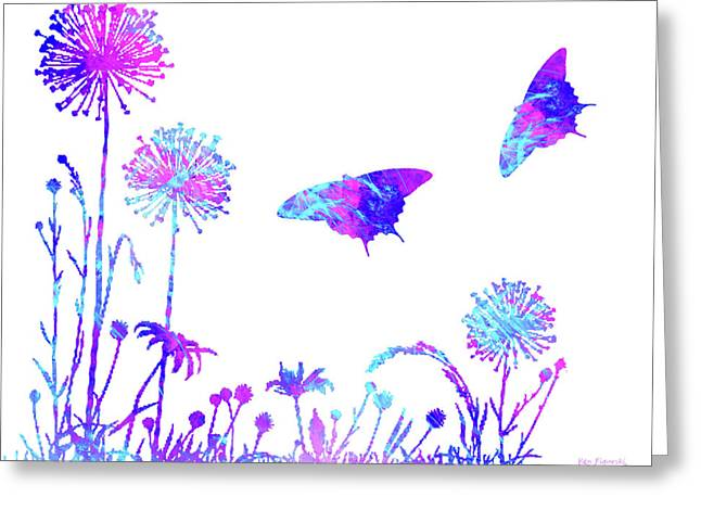 Flowers And Butterflies Greeting Card by Ken Figurski