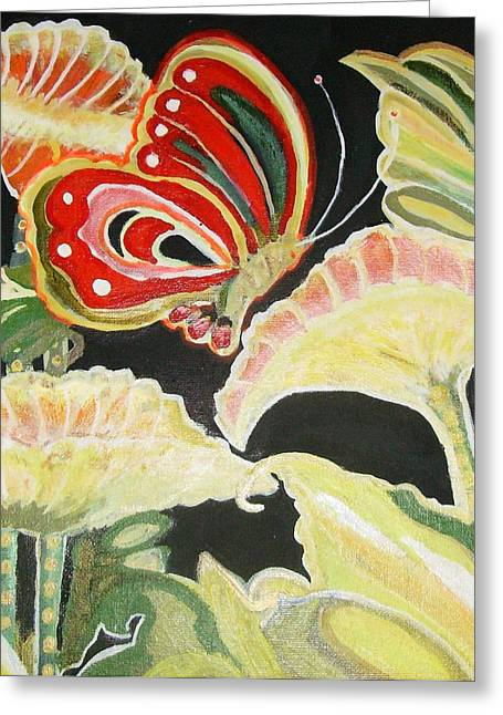 Flowers And Butterfly Greeting Card by Anne-Elizabeth Whiteway