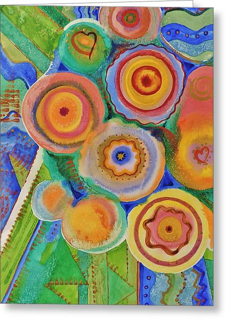 Flowers And Candies Greeting Card by Margaret Bobb