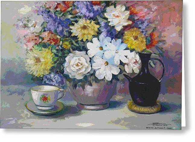 Flowers And Coffee Pot Greeting Card