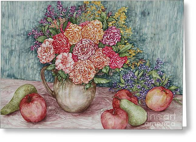 Flowers And Fruit Arrangement Greeting Card by Kim Tran