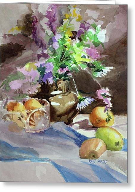 Flowers And Fruit Greeting Card by Kris Parins