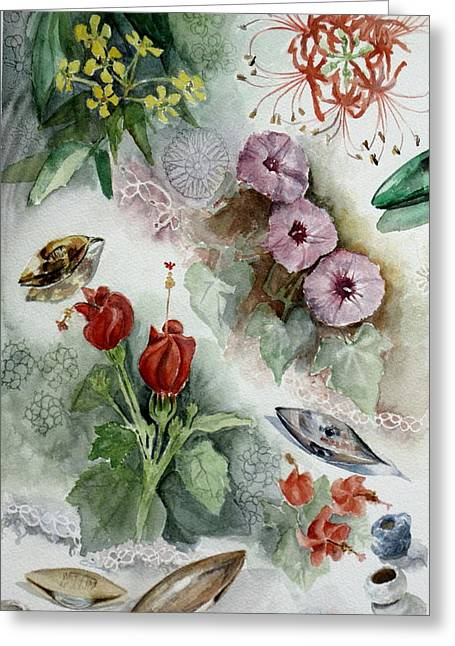 Flowers And Lace Greeting Card