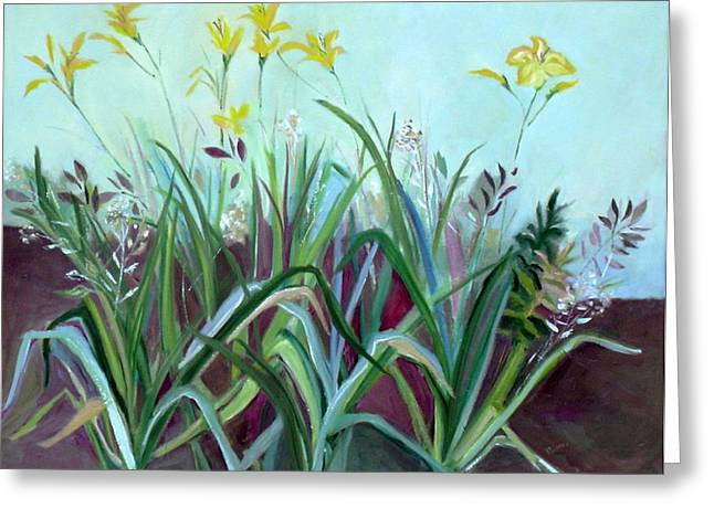 Greeting Card featuring the painting Flowers And Leaves by Betty Pieper