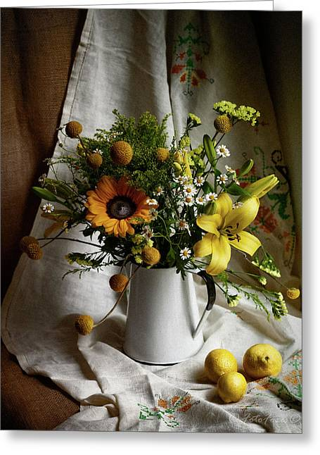 Flowers And Lemons Greeting Card