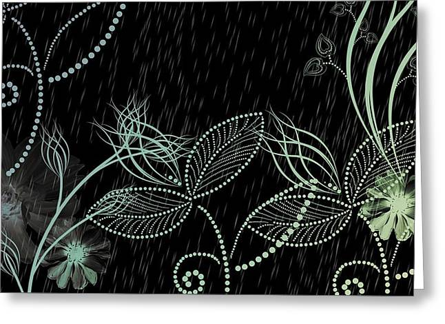 Flowers And Rain Greeting Card